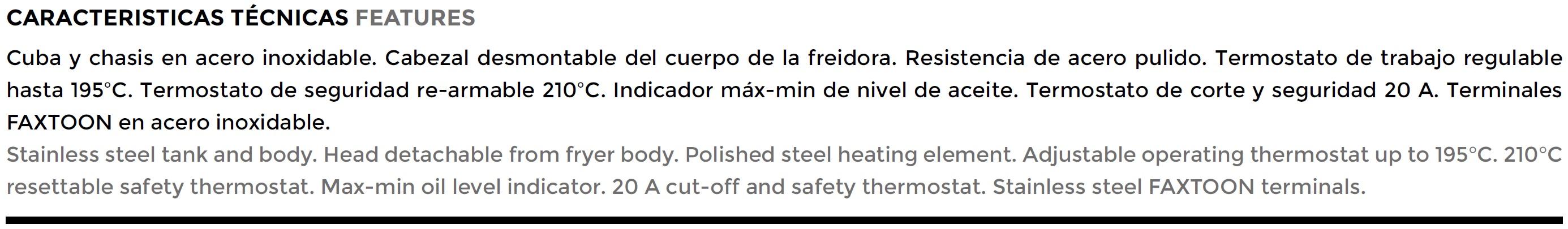 FREIDORA FE 6L HCL CARACTERISTICA