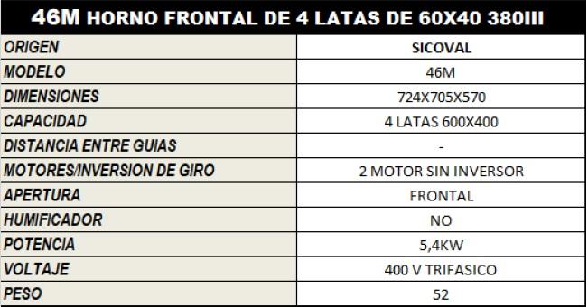 HORNO ELECTRICO SV_46M 380III 5,4KW